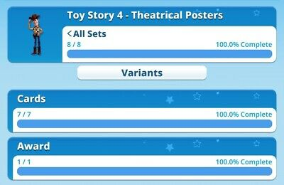 Toy Story 4 - Theatrical Posters Set With Award By Topps Disney Collect Digital