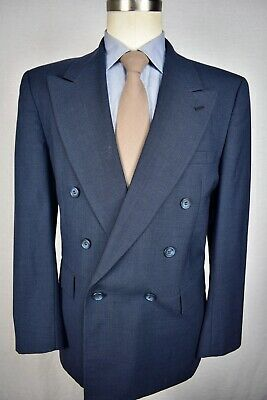 Evan Picone Blue Houndstooth Worsted Wool Double Breasted Two Piece Suit Sz: 40S