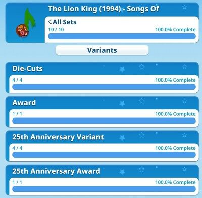 The Lion King Songs Of 1994 Die Cut Full Sets with Both Awards By Topps...