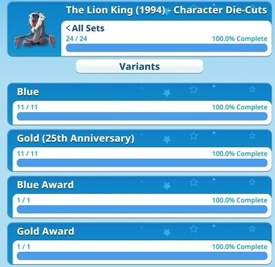 The Lion King 25th Anniversary Full Sets With Both Awards By Topps Disney...