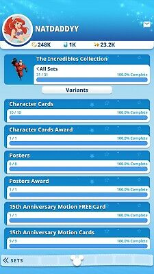 The Incredibles Collection Complete With All Awards By Topps Disney Collect...