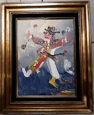 Vintage 1989 Signed Morris Katz Oil on Board Clown Painting deco art modern folk