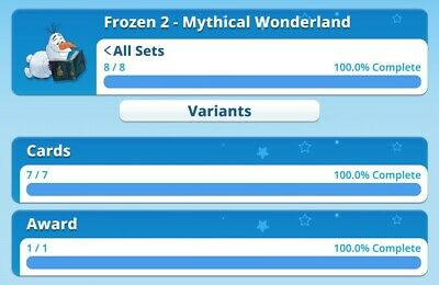Frozen 2 - Mythical Wonderland Full Set With Award By Topps Disney Collect...