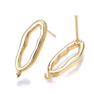 10pcs Brass Wavy Oval Earring Posts Hollow Hang Loop 18K Gold Plated Studs 19mm