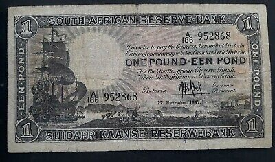 RARE 1947 South African Reserve Bank £1 Banknote P 84f VG