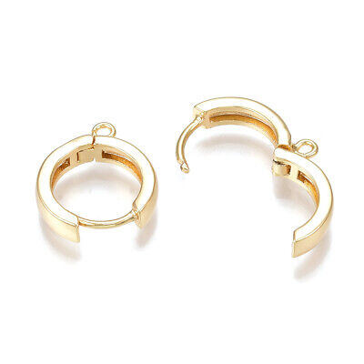 10x Brass Clip Leverback Earwire w/ Hang Loop Round 18K Gold Plated Hoops 16.5mm