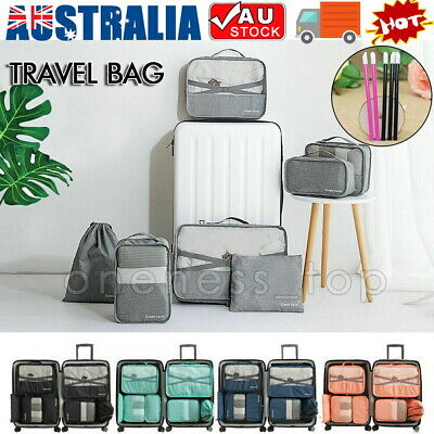 7Pcs Packing Cubes Travel Pouches Luggage Organiser Clothes Suitcase Storage Bag