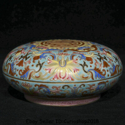 """4"""" Qianlong Marked Old China colour enamels Porcelain Dynasty Flower Jewelry box"""