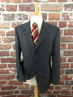 Chiavari Mens Navy Blue Wool Suit Jacket Blazer Sportcoat Size 38S Made In Italy