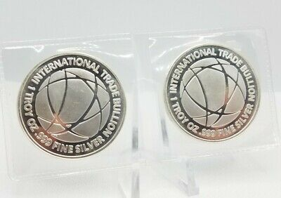 2x 1 Troy Ounce 999 Fine Silver Pure Bullion Round Ingot Bar ITB Investment Coin