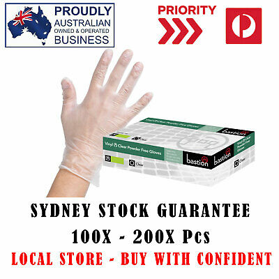 SALE! 100/200/400x Vinyl Gloves Disposable POWDER FREE Hand Protection SYD STOCK