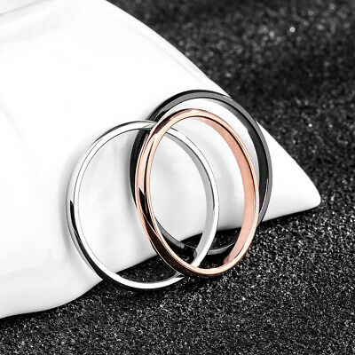 2mm Thin Stackable Ring Stainless Steel Plain Band for Women Girl Size 4-10