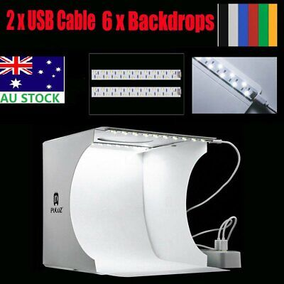 Portable Photo Studio LED Light Room Photography Lighting Kit Mini Box 6Backdrop