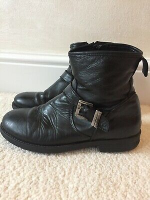 Girls Step Two Black Leather Biker Boots EU 35