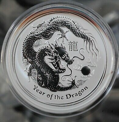 2012 Perth Mint TWO Ounce Lunar Coin, Year of the Dragon .999 Silver, Toned.