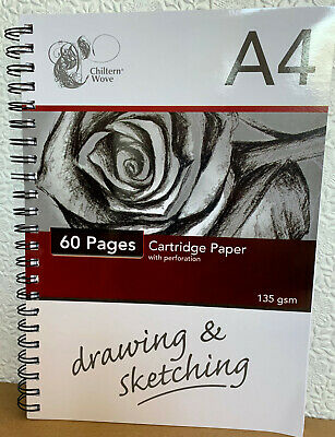 New A4 / A5 135gsm Sketch Drawing Pad Book White Cartridge Paper Art Spiral Note