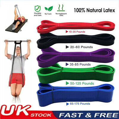 5 Power Resistance Exercise Heavy Duty Bands Natural Latex Tube Home Gym Fitness