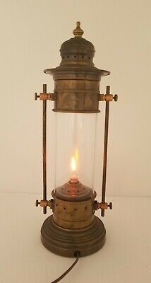 Vintage Electric Nautical Ship Boat Light Lantern Brass Copper 15 Inch Tall
