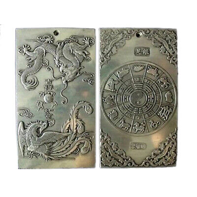 Old Chinese Tibet Dragon Phoenix lucky Bullion Thanka Amulet Pendant Silver