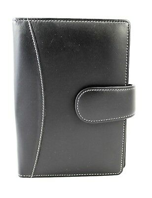 Organiser Medium Real Leather Soft Black 6 Rings Pockets inside 2 Tongue
