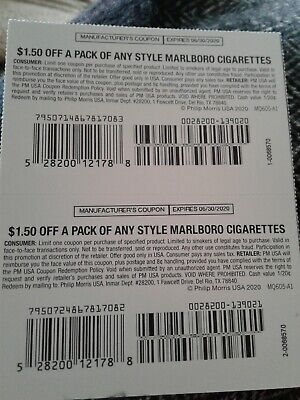 Pair of Marlboro coupons $1.50 each, $3.00 total expires 6/30/2020