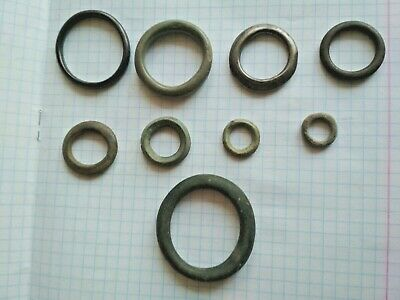 "Very rare !!! 9 Ancient Celtic Proto Money Bronze Rings ""Coins"" Circa 400 BC"