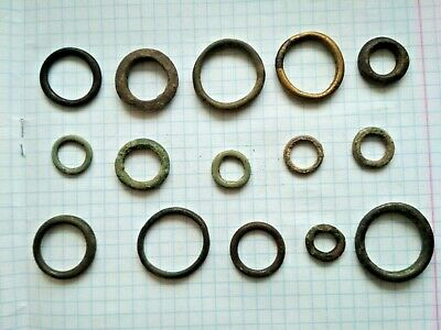 "Very rare !!! 15 Ancient Celtic Proto Money Bronze Rings ""Coins"" Circa 400 BC"