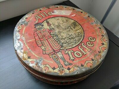 """Vintage antique Allen's Toffee """"Supreme"""" Tin Container - late Victorian England"""