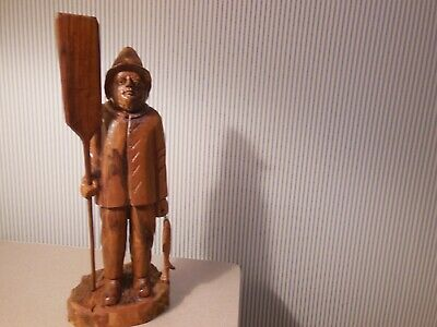 """Carved Wooden Figurine 16 1/2"""" tall Old Fisherman"""