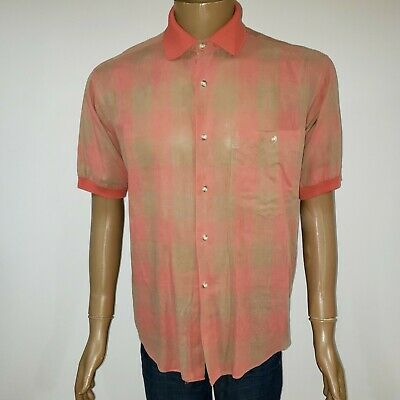 Yves Saint Laurent Mens Medium M Button Down Shirt Polo Collar Linen Blend Plaid