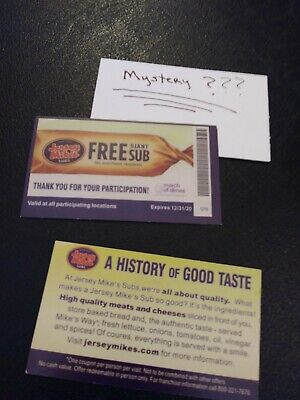 1 Jersey Mike's GIANT SUB Voucher+1 Mystery Combo Meal Voucher  ( Free Shipping)