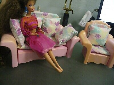Vintage 1987 Barbie Sweet Roses Sofa Bed Couch And Chair With Cushions & Pillows