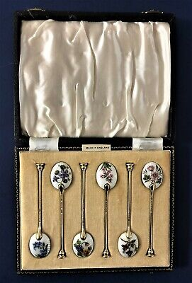 W. SUCKLING (Birmingham) Sterling Guilloche Enamel Spoon Set in Original Box