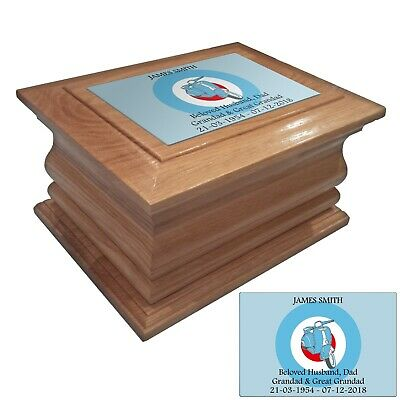 Wooden Cremation urn ashes casket Moped personalised oak adult human funeral urn