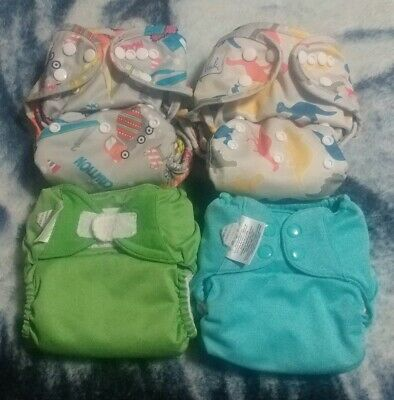 Lot Of 4 Cloth Diapers All In Ones & Pockets BumGenius & Wink One Size