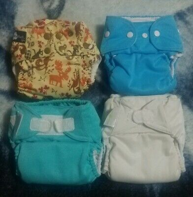 Lot Of 4 Cloth Diapers One Size Funky Fluff BumGenius Thirsties