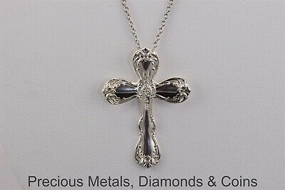 """Towle Sterling Silver 40mm x 29mm Spoon Cross Pendant 18"""" Chain"""