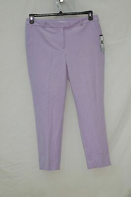 Tahari ASL Womens Slim Pleated Pants Purple 16