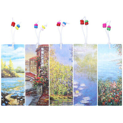 5pcs Beaded Bookmark Flower Bird Patterned Bookmarkers Page Marker for Note Book