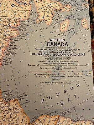Vintage Map OF WESTERN CANADA – National Geographic 1966