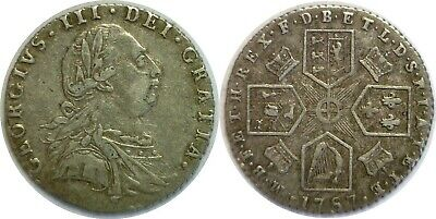 1787 Great Britain George III Silver 6 Pence KM# 606.2 Hearts Extra Fine