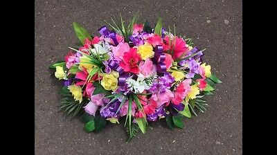 ANY COLOUR 2ft Artificial Silk Flower Spray Arrangement Grave Funeral Tribute