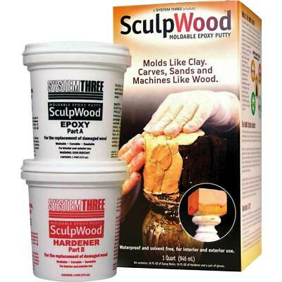 System Three T30560 Sculpwood Moldable Epoxy Putty Kit, 1 Quart