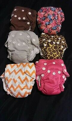 Baby Cloth Pocket Diaper Lot Of 6 ' Pristine Condition ' FREE SHIPPING!