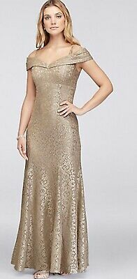 RM Richards Cold Shoulder GlitterLace Mermaid Prom Dress Sz 4  Worn 1x Orig $170