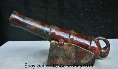 "13.6""Old China Natural Red Xiu Jade Carved Birds cannon artillery big gun Statue"