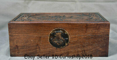 """13.4"""" Antique Chinese Huanghuali Wood Dynasty Flower Birds Jewelry box casket"""