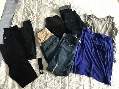 MATERNITY jeans dresses tights leggings active wear 9 ITEM BULK LOT sz 8-10