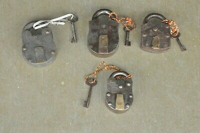 4 Pc Old Iron & Brass Handcrafted Unique Shape Different Padlocks , Rich Patina