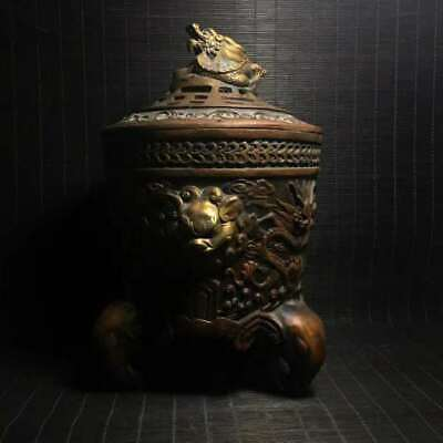 Collection Chinese Qing Dynasty Pure Bronzet Dragon Elephant Lion Incense Burner